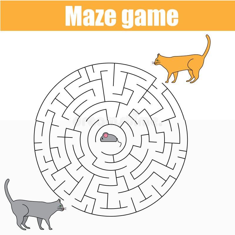 Dopasowywający dzieci gry, labirynt żartuje aktywność z kotami i myszą royalty ilustracja