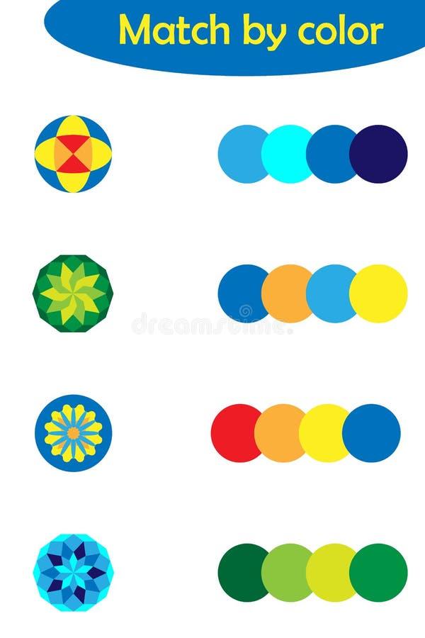 Dopasowywanie gra dla dzieci, łączy kolorowych mandalas z ten sam kolor paletą, preschool worksheet aktywność dla dzieciaków, zad royalty ilustracja