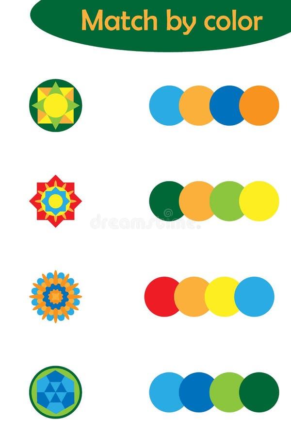 Dopasowywanie gra dla dzieci, łączy kolorowych mandalas z ten sam kolor paletą, preschool worksheet aktywność dla dzieciaków, zad ilustracji