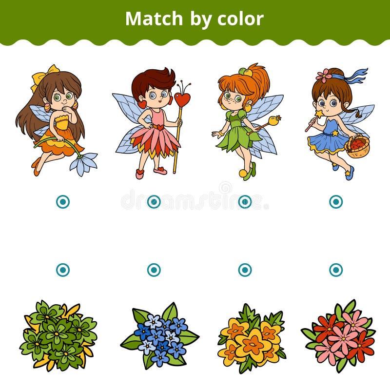 Dopasowywanie gra dla dzieci Dopasowanie kolorem, czarodziejkami i kwiatami, ilustracja wektor
