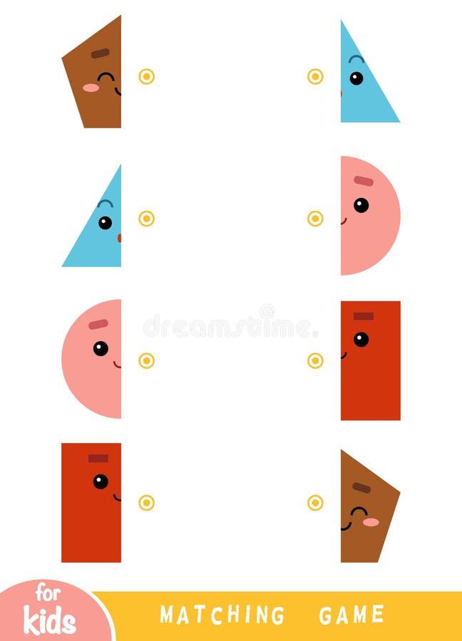 Dopasowywanie gra, gra dla dzieci Dopasowywa połówki Set geometryczni kszta?ty ilustracja wektor