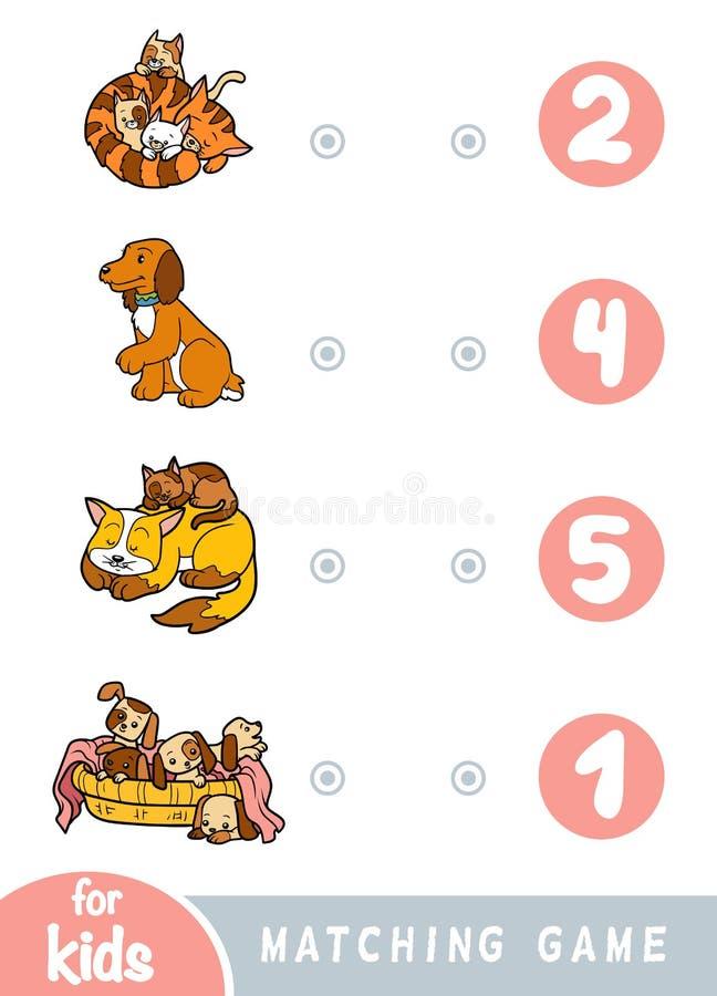 Dopasowywanie gra dla dzieci Liczy ile pies i kot wybiera poprawną liczbę i royalty ilustracja