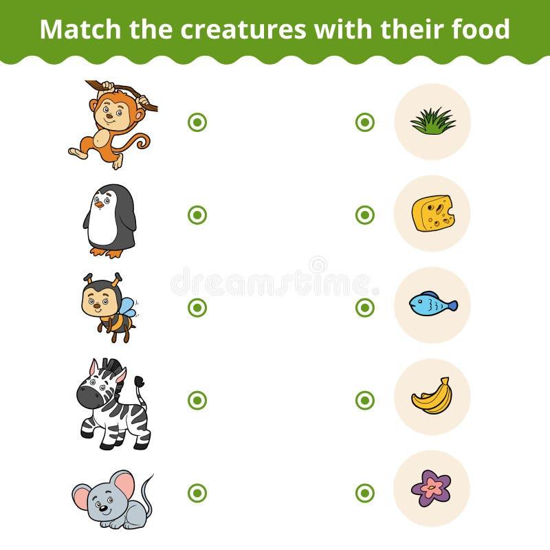 Dopasowywanie gra dla dzieci, zwierząt i ulubionego jedzenia, ilustracja wektor