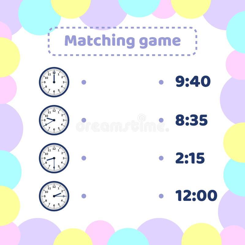 Dopasowywanie gra dla dzieciaka preschool i szkolnego wieka Jaki czas jest mną round zegarek ilustracji