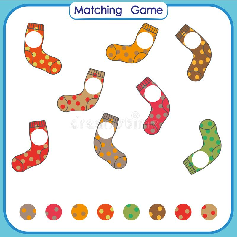 Dopasowywanie gra, znalezisko brakująca część, Wizualna Edukacyjna gra dla dzieciaków, worksheet ilustracja wektor