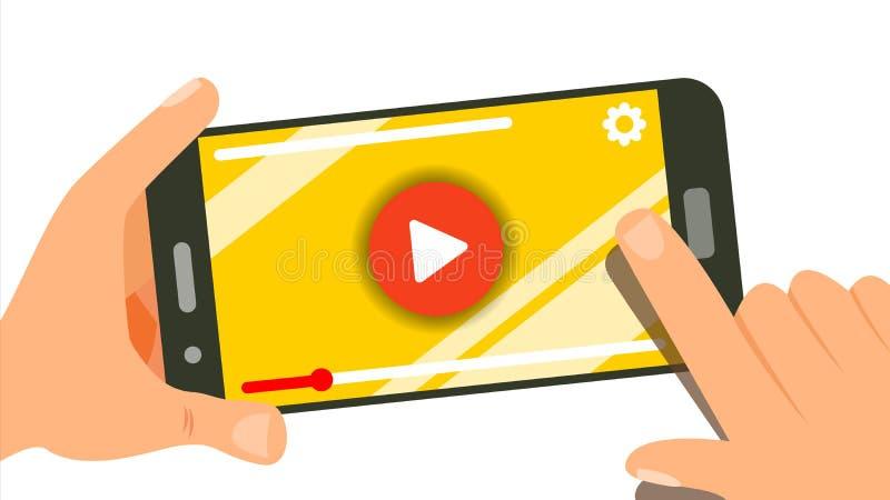 Dopatrywania wideo Na Smartphone wektorze Istot ludzkich ręki Z gadżetem Menu panel Muzyka, film Palcowy dotyka ekran odosobniony royalty ilustracja