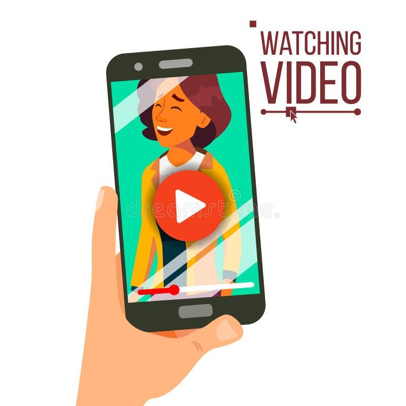 Dopatrywania wideo Na Smartphone wektorze Lać się technologie Przetwórczy sieć telefon Odosobniona płaska ilustracja royalty ilustracja