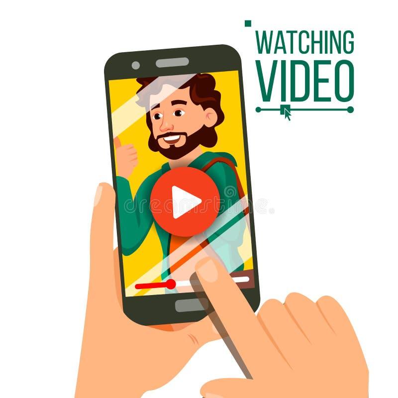 Dopatrywania wideo Na Smartphone wektorze Odtwarzacz Wideo Na ekranie Czerwony sztuka symbolu guzik Palcowy dotyka ekran Odosobni royalty ilustracja