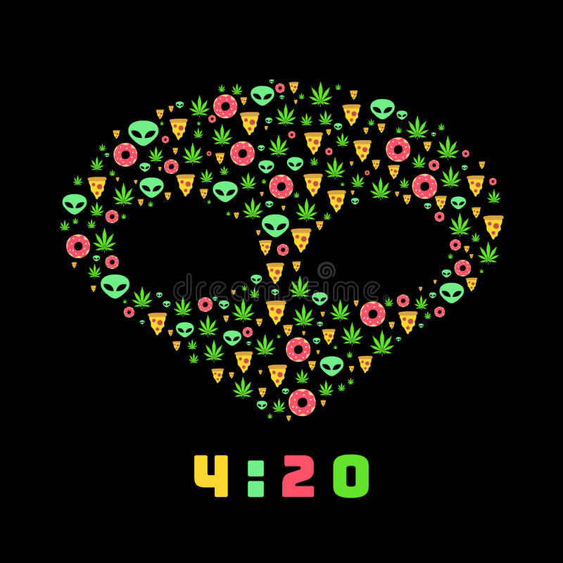 Dope trip flat vector pattern with marijuana leafs, donuts, pizza slices and aliens. Isolated on background. T-shirt design royalty free illustration
