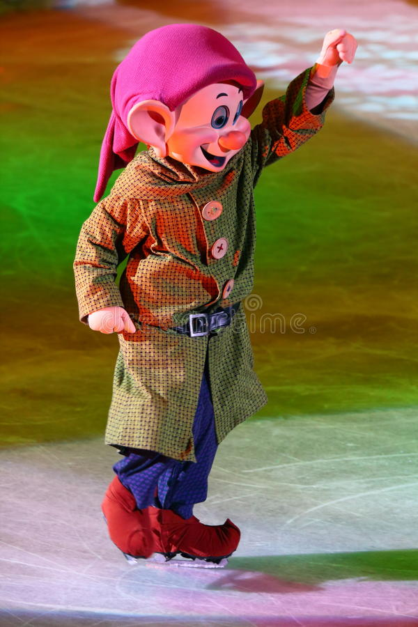 Dopey of Seven Dwarfs. Philippines - December 26, 2012. Dopey dwarf in Disney On Ice: Princesses & Heroes at Smart Araneta, Cubao Quezon City royalty free stock photography