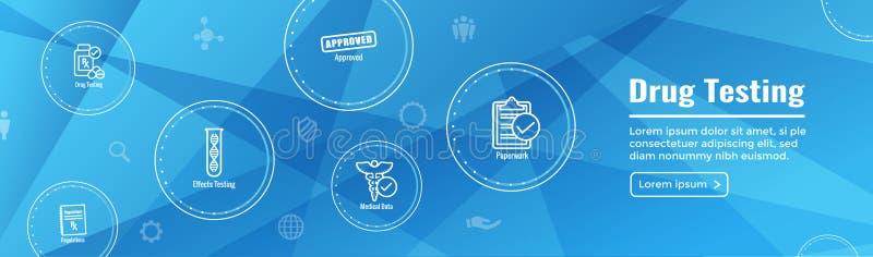 Dopez l'essai et l'ensemble de processus d'icône de la bannière début de Web W illustration de vecteur