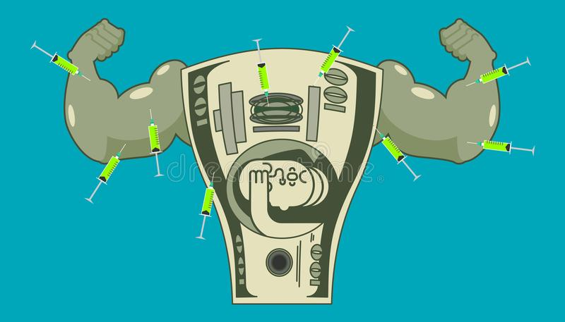 Doping for Dollar. Strong money and steroids. Syringe with anabolic. Bodybuilder cash. Vector illustration royalty free illustration