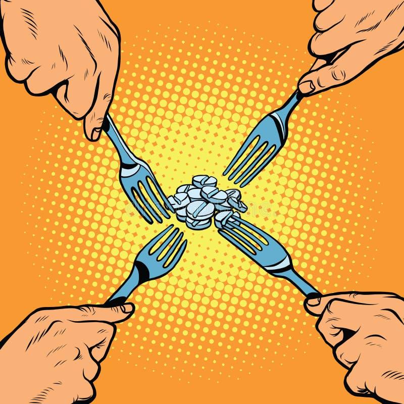 Doping pill medicine pharmacology. Pop art retro vector illustration vector illustration