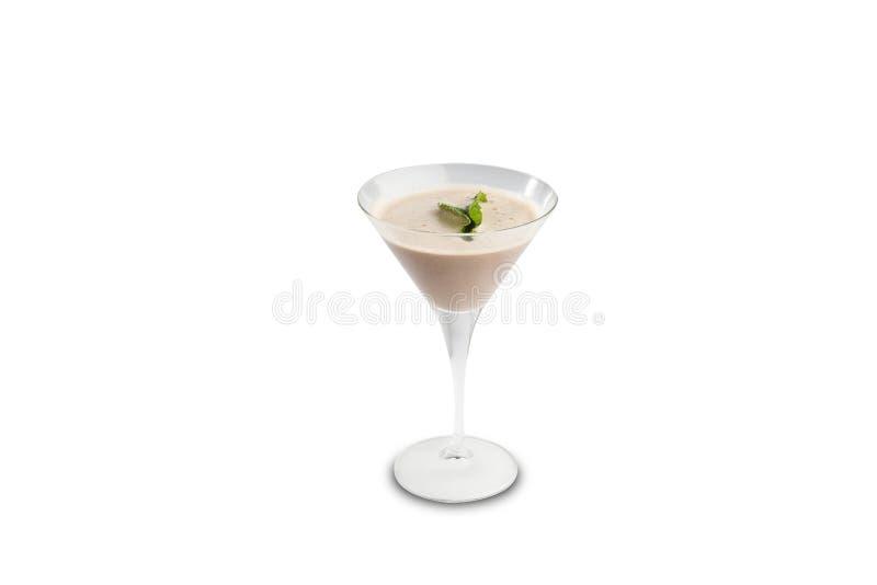 Dopo il cocktail della cena isolato su un fondo bianco fotografia stock libera da diritti