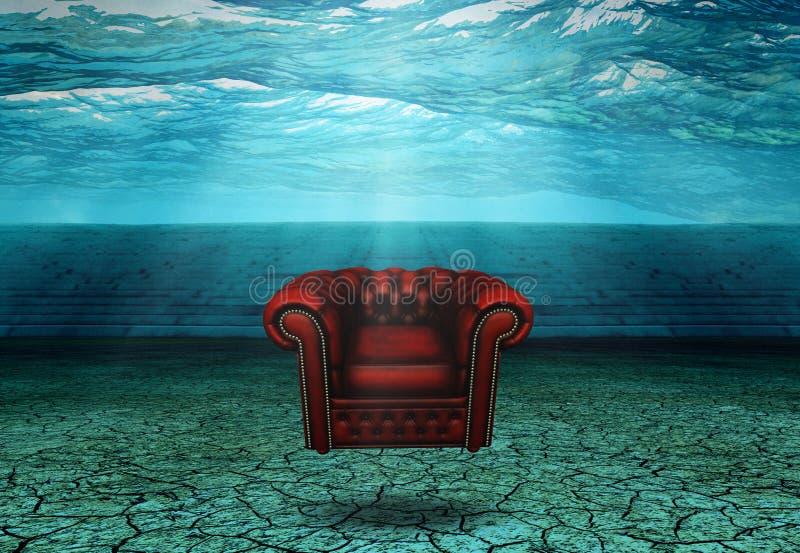 Doppad stol i doppad öken fördärvar royaltyfri illustrationer