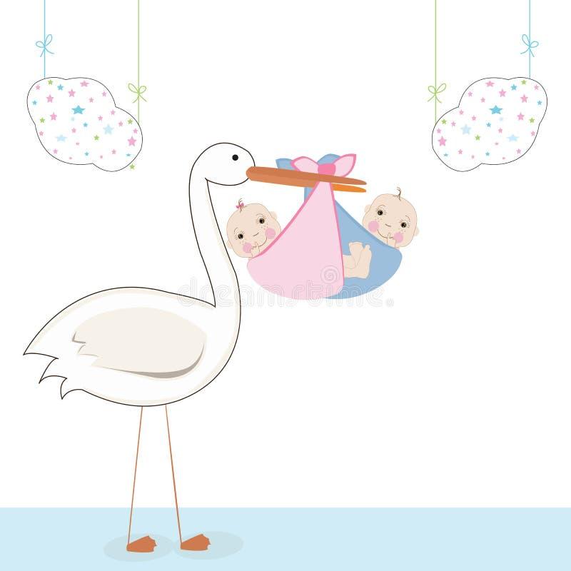 Doppelbaby mit Storch, Babyankunftskartenvektor stock abbildung
