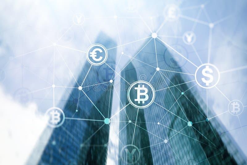 Doppelbelichtung Bitcoin und blockchain Konzept Digital-Wirtschaft und -Devisenhandel lizenzfreie abbildung