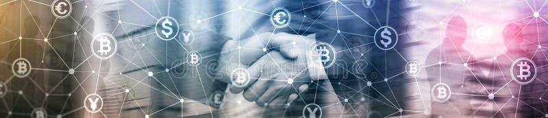 Doppelbelichtung Bitcoin und blockchain Konzept Digital-Wirtschaft und -Devisenhandel Websitetitelfahne stockbild