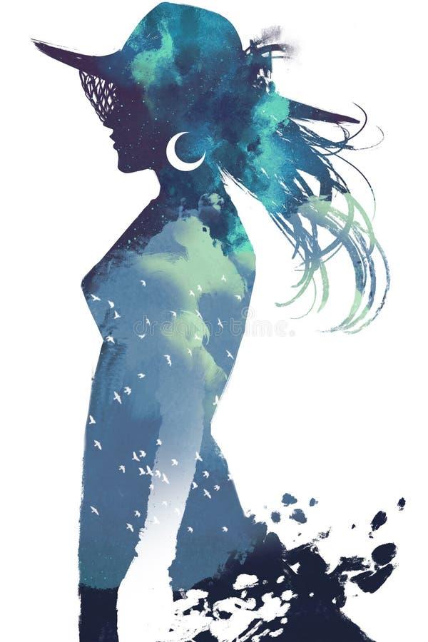 Doppelbelichtung der Frau mit Hut und bewölktem Himmel nachts stock abbildung