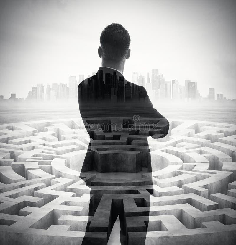 Doppelbelichtung des stilvollen Geschäftsmannes und stockbild