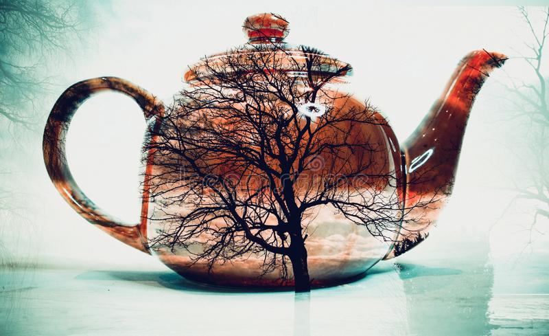 Doppelbelichtung des Teetopfes lizenzfreie abbildung