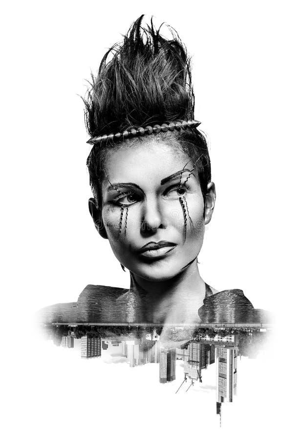 Doppelbelichtung einer Frau mit kreativem Make-up lizenzfreie stockfotos