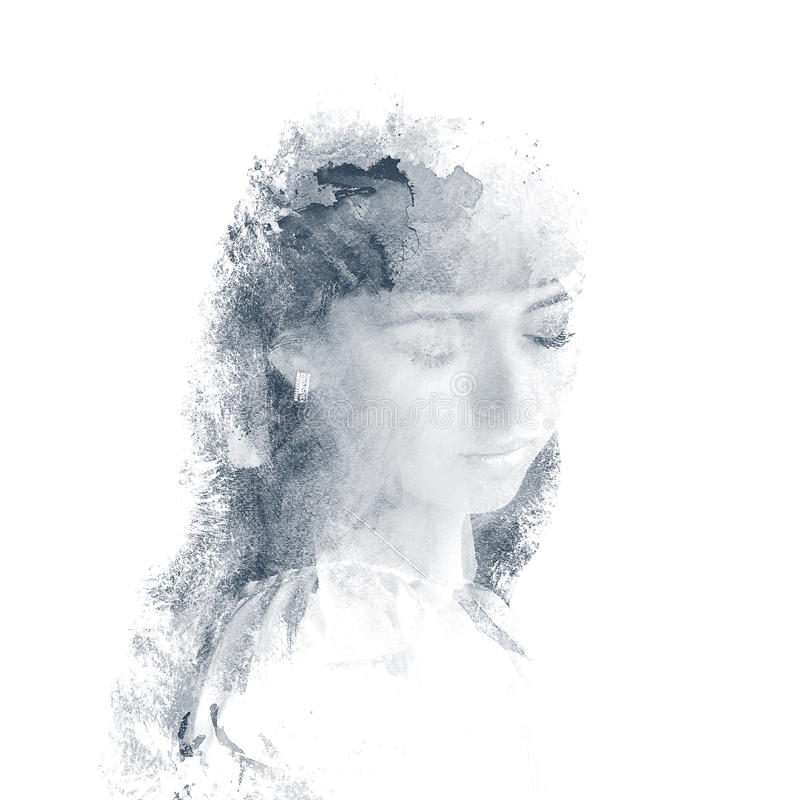 Doppelbelichtung eines jungen schönen Mädchens Gemaltes Porträt eines weiblichen Gesichtes Mehrfarbiges Bild lokalisiert auf weiß lizenzfreie abbildung