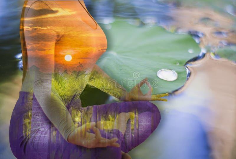 Doppelbelichtung - Ruhe von der Yogafrau durch die Meditation, zum des Verstandes, Lotus-Blatthintergrund zu reinigen auf dem Was lizenzfreies stockbild