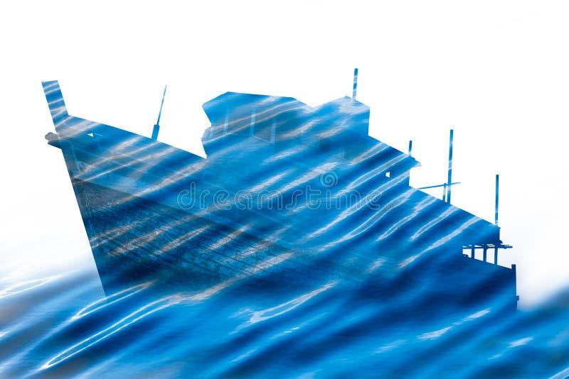 Doppelbelichtung von hölzernem Schiffs- und Wellenblaumeer lizenzfreies stockfoto