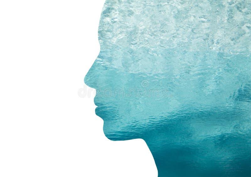 Doppelbelichtungsfrauenprofil mit Wasser stock abbildung
