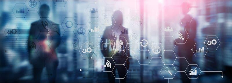 Doppelbelichtungsgemischte medien Diagramme und Ikonen auf Hologrammschirm Geschäftsleute und moderne Stadt auf Hintergrund lizenzfreie abbildung