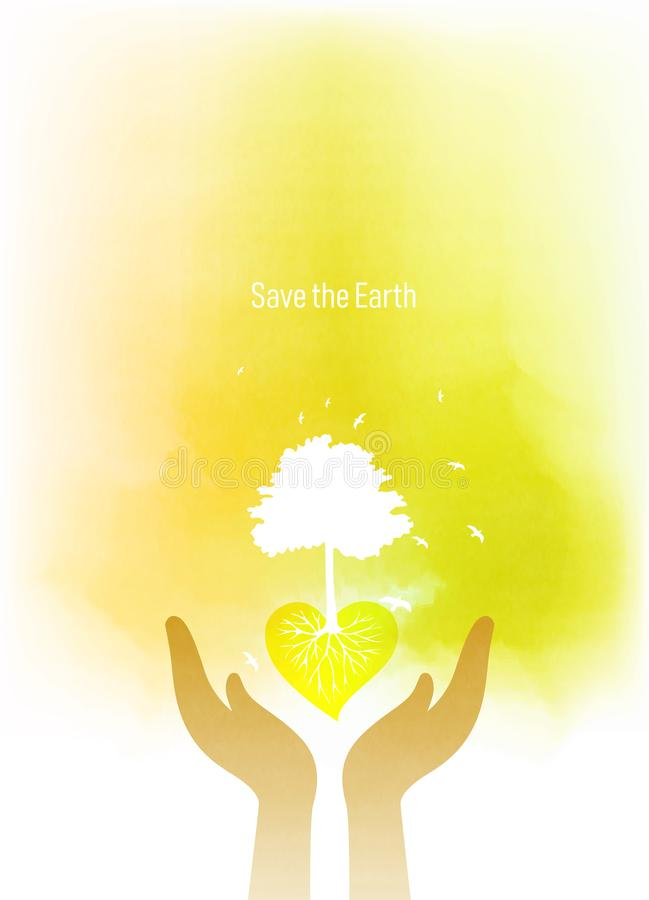Doppelbelichtungsillustration Menschliche H?nde, die Baumsymbol mit Aquarell halten Konzeptillustration für Umweltsorgfalt oder - stock abbildung