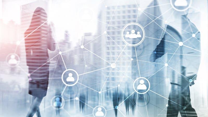 Doppelbelichtungsleute-Netzstruktur Stunde - Personalwesen Management und Einstellungskonzept lizenzfreie stockbilder