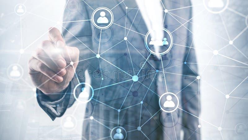 Doppelbelichtungsleute-Netzstruktur Stunde - Personalwesen Management und Einstellungskonzept vektor abbildung