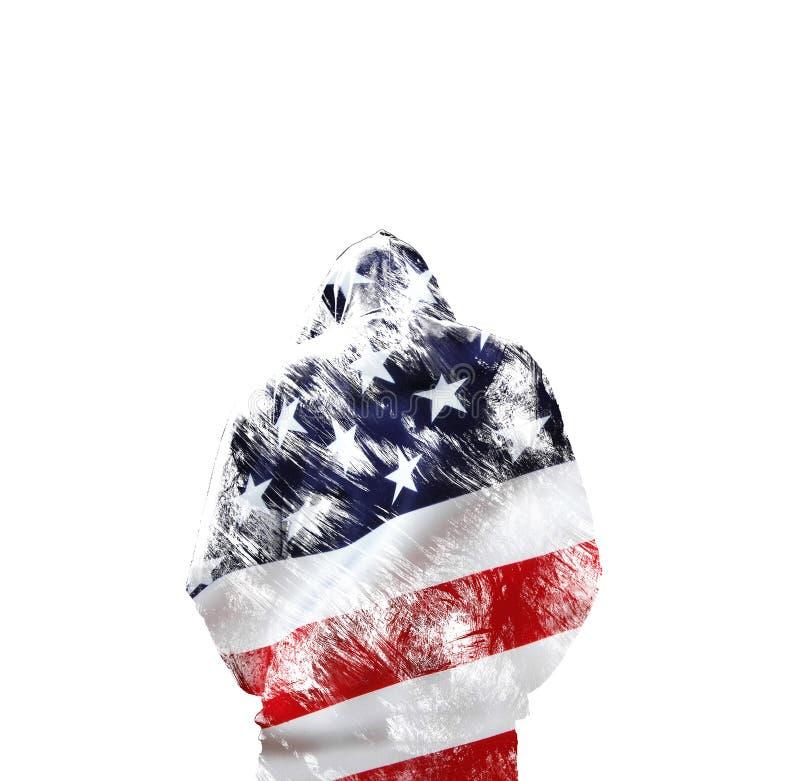 Doppelbelichtungsmann in der Haube ist zurück Begrifflich in den nationalen Farben der Flagge der Vereinigten Staaten von Amerika stockbilder