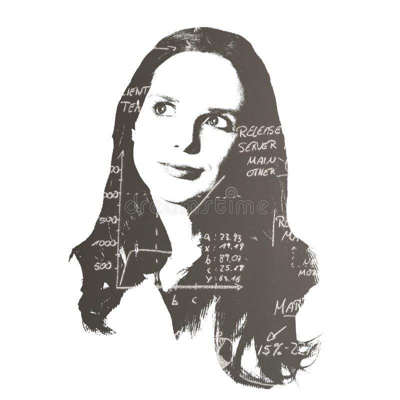 Doppelbelichtungsporträt eines recht jungen Studenten lizenzfreies stockbild