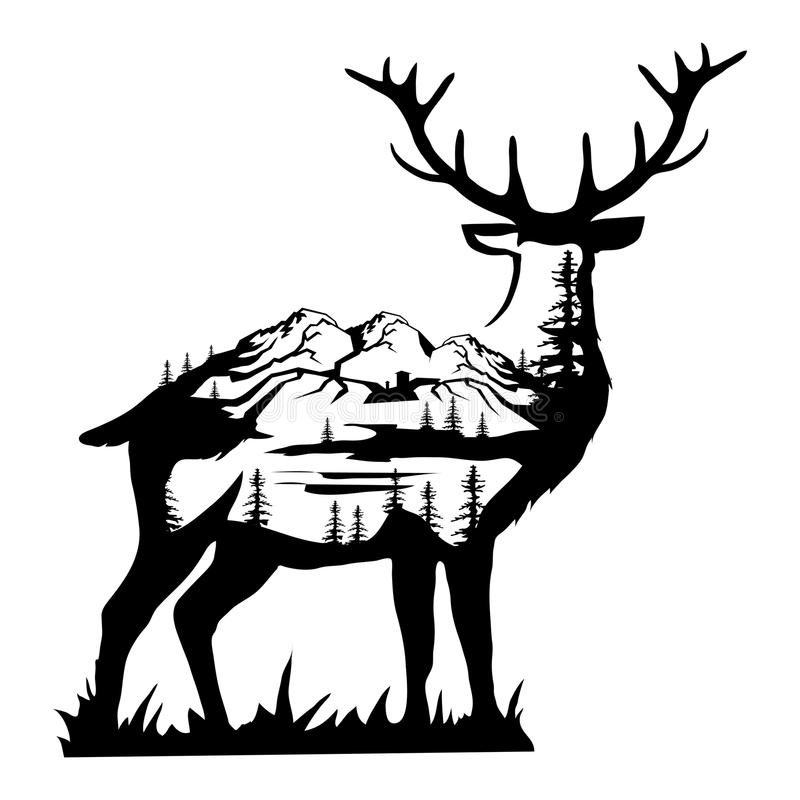 Doppelbelichtungsrotwild Landschaftsrotwild in der Doppelbelichtung stock abbildung