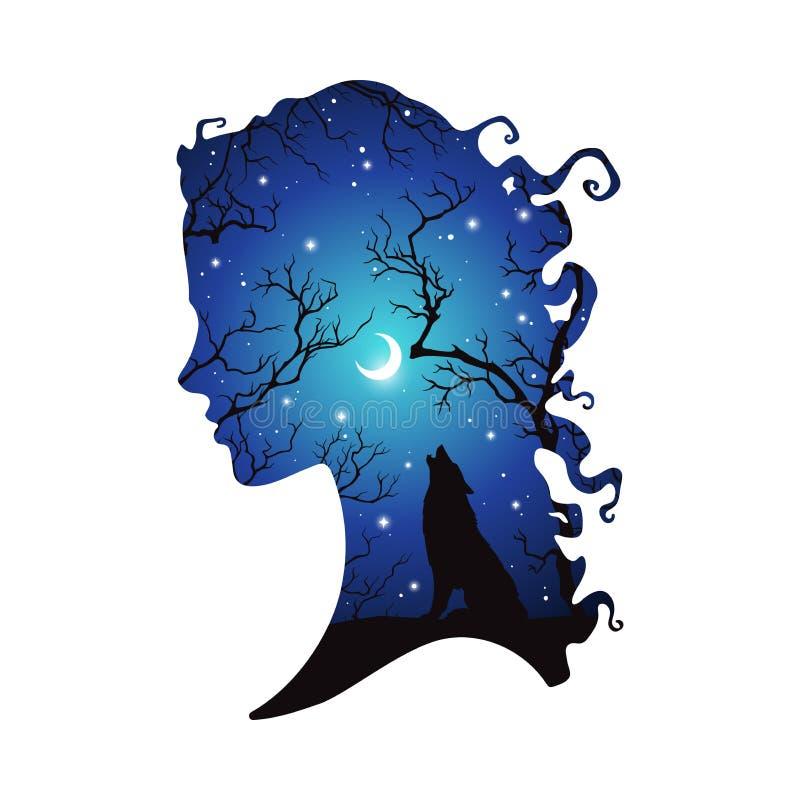Doppelbelichtungsschattenbild der Schönheit mit Schatten des Wolfs im Nachtwald, im sichelförmigen Mond und in den Sternen Aufkle lizenzfreie abbildung