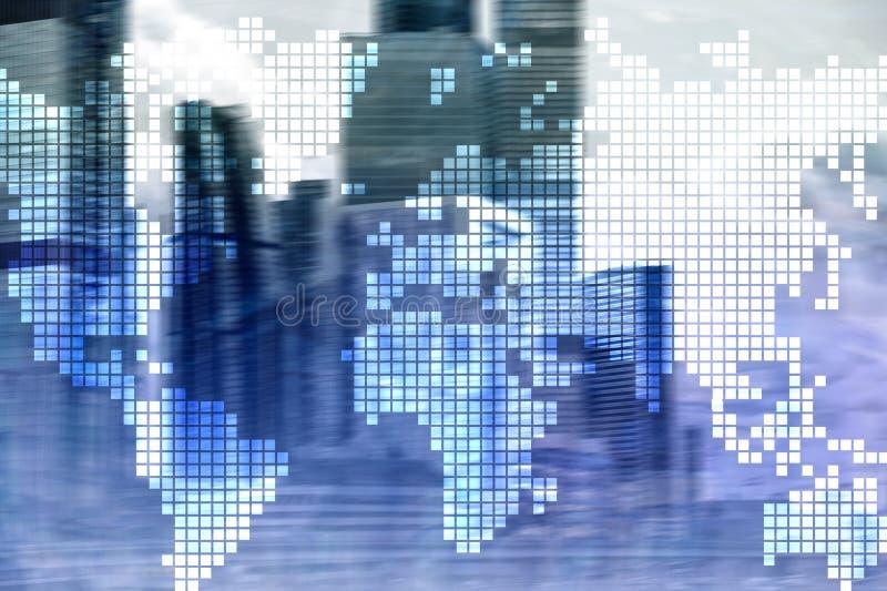 Doppelbelichtungsweltkarte auf Wolkenkratzerhintergrund Konzept der Kommunikation und des globalen Geschäfts stockfotografie