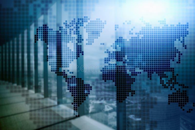 Doppelbelichtungsweltkarte Konzept des globalen Geschäfts und des Finanzmarkts stock abbildung