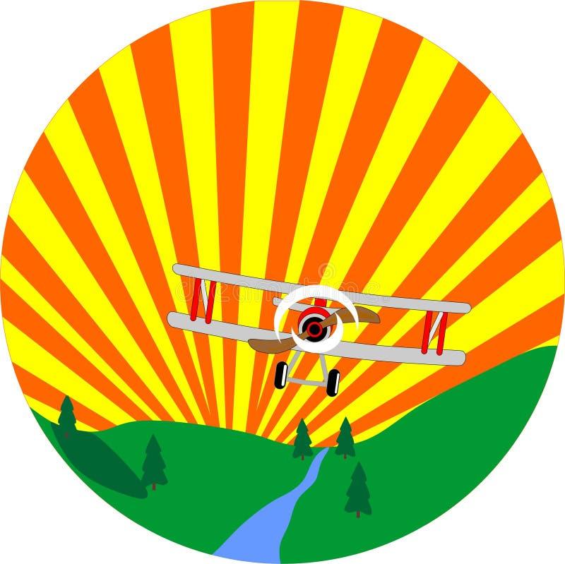 Doppeldeckerflugwesen durch den Himmel lizenzfreie abbildung
