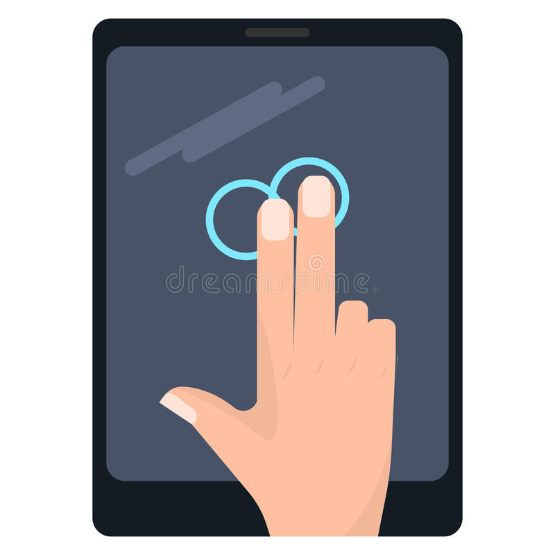 Doppelklick mit Handzeichen Touch Screen mit zwei Fingern stock abbildung