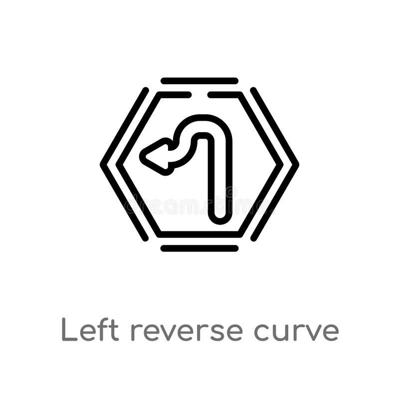 Doppelkurvevektorikone des Entwurfs linke lokalisiertes schwarzes einfaches Linienelementillustration vom Benutzerschnittstellenk vektor abbildung
