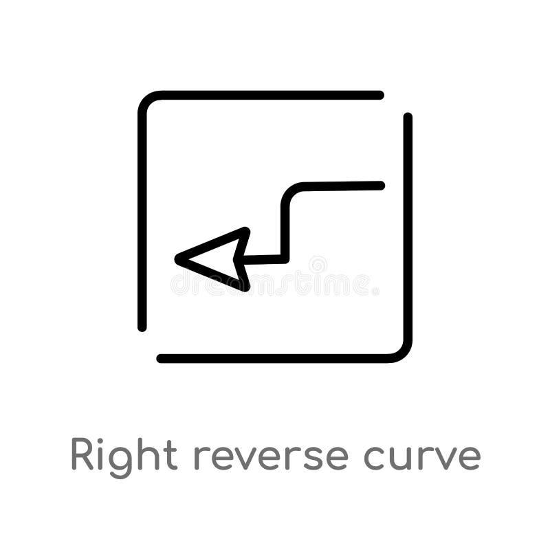 Doppelkurvevektorikone des Entwurfs rechte lokalisiertes schwarzes einfaches Linienelementillustration von den Karten und vom Fla lizenzfreie abbildung