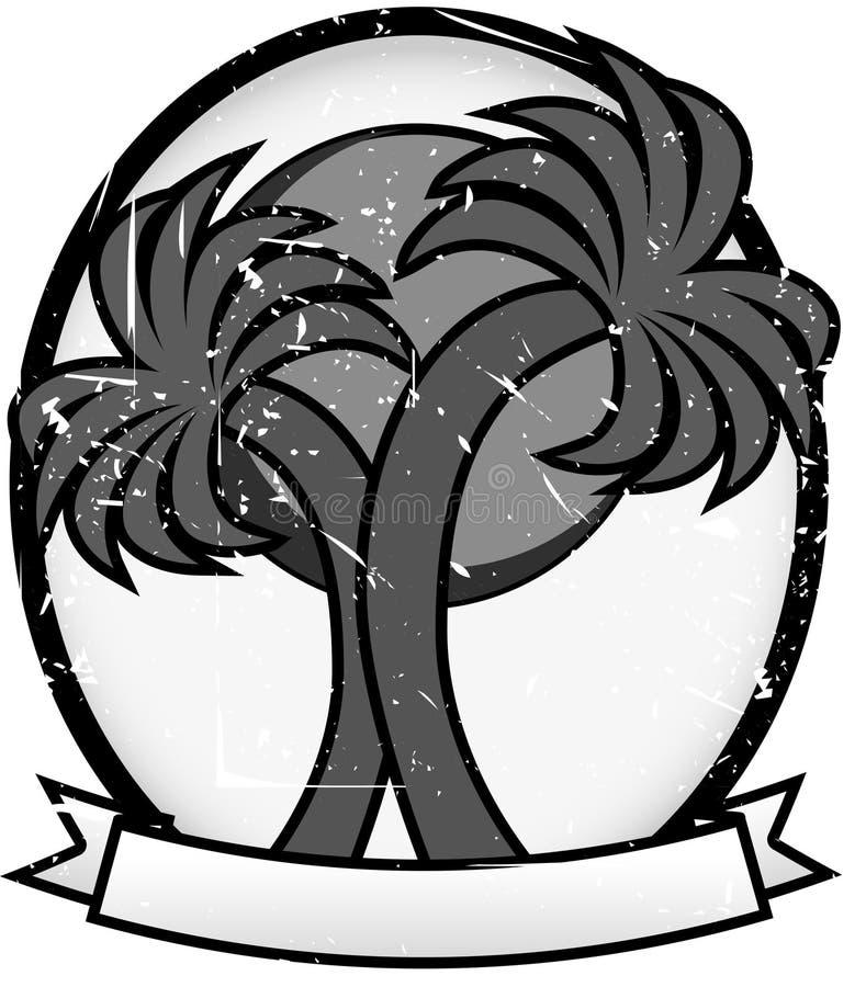 Doppelpalmesun-Abzeichen-ovaler FahneGrayscale stock abbildung