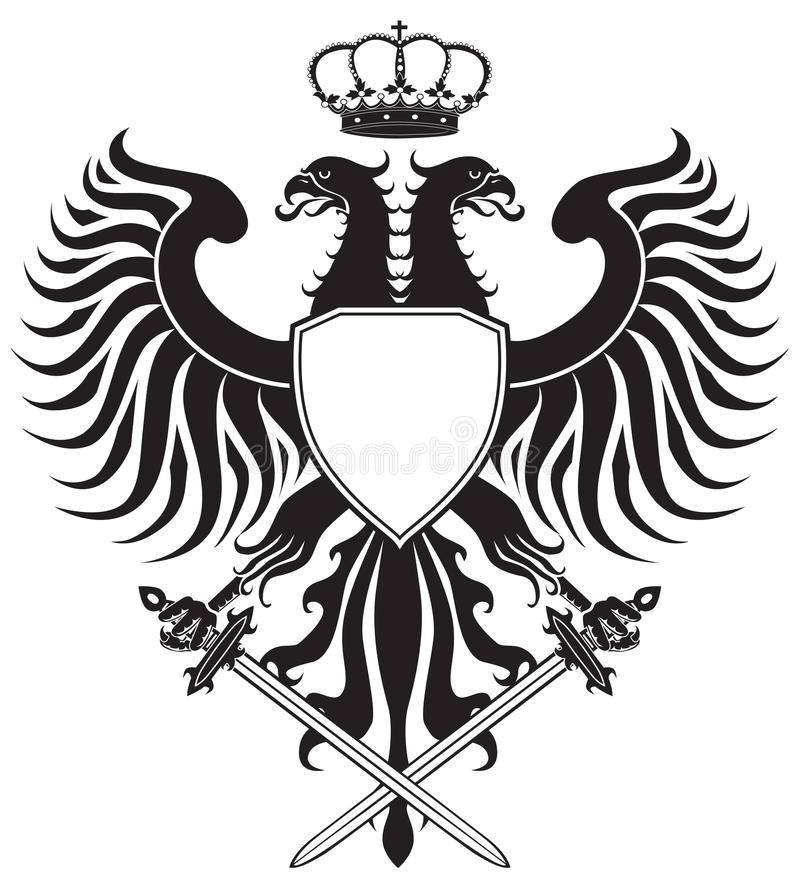 Doppelt-vorangegangener Adler mit Krone und Klingen stock abbildung