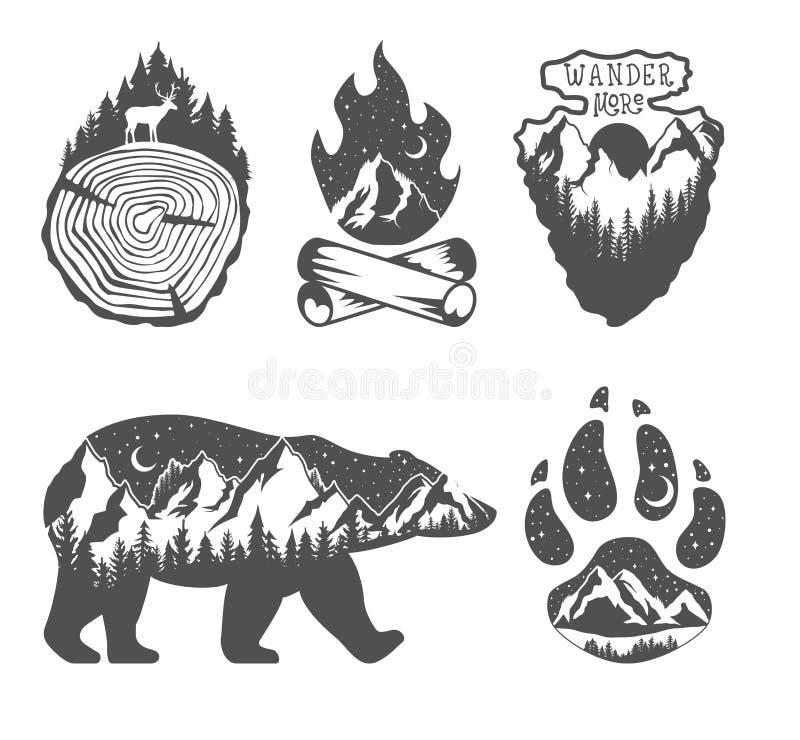 Doppelte Berührung Konzept der wild lebenden Tiere Handgezogene Ausweise im Freien Wilde Natur in den Schwarzweiss-Farben vektor abbildung