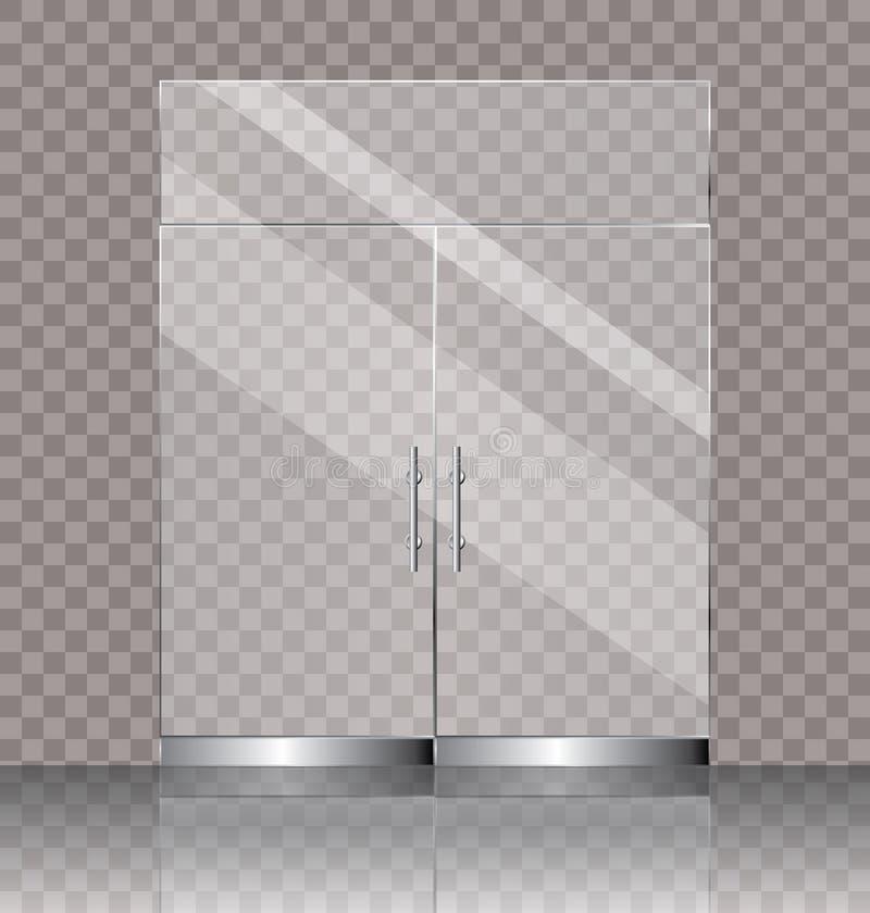 Doppelte Glastür stock abbildung