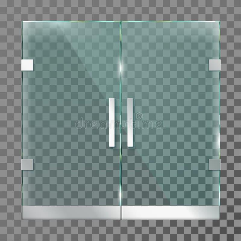 Doppelte Glastür Mallspeicher-Einstiegstüren im Stahlmetallrahmen für modernes Büro oder Geschäft lokalisierte Vektorschablone vektor abbildung