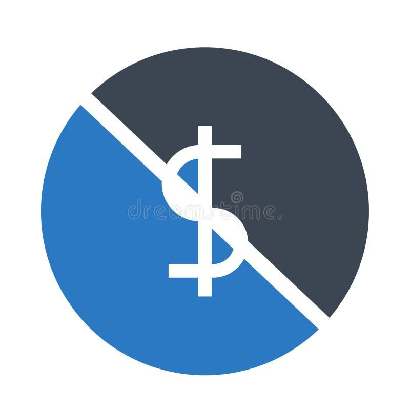 Doppelte Ikone Dollarblock Glyphs Farb vektor abbildung